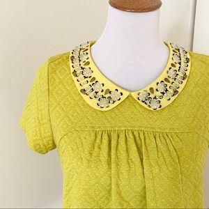 Yellow, Peter Pan Collar Postmark Blouse w/Sequins